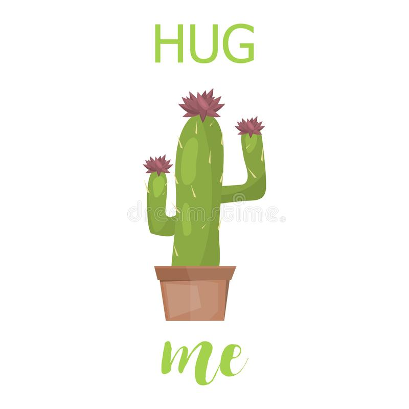 Cactus Card Cute Creative Vector Lettering Template With Cacti ...