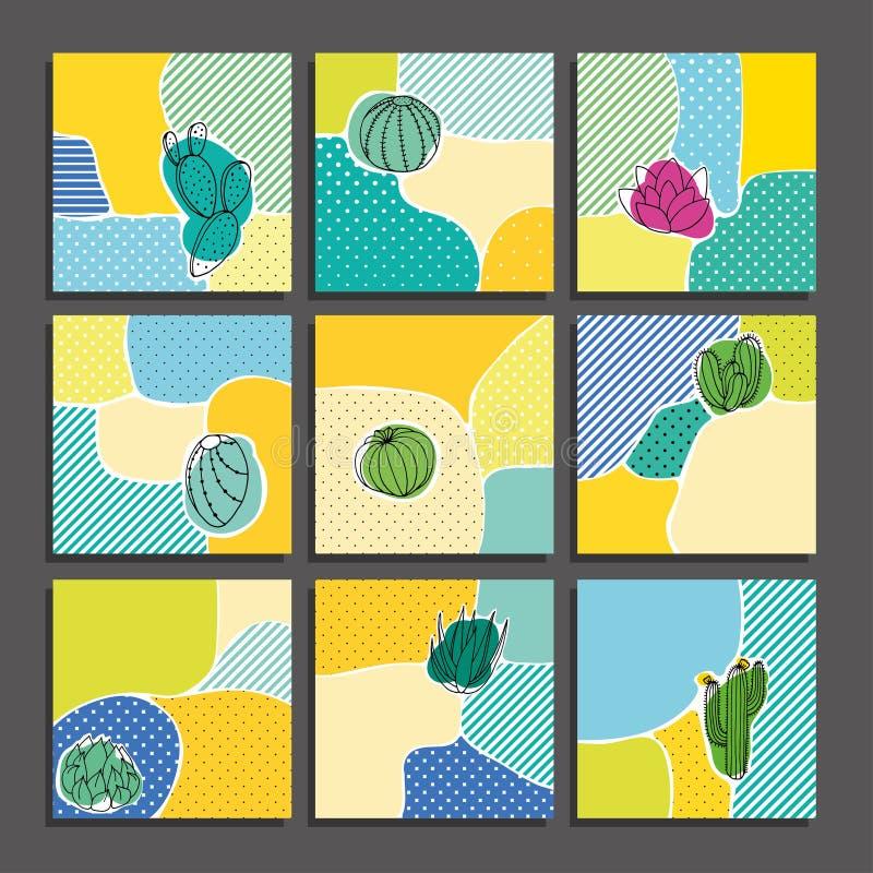 Cactus cards set. stock image
