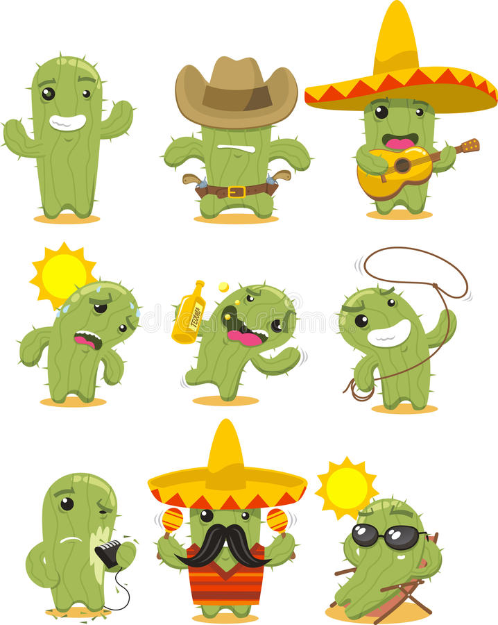 Nine Different Ways You Can Put Your Goals In Writing: Cactus Cartoon Action Set Stock Illustration. Illustration