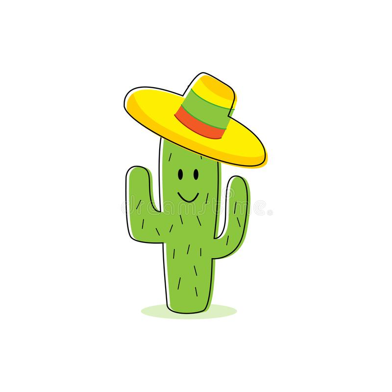 Cactus cartoon character. Isolated Cactus with happy face and colorful mexican hat. Eps10 royalty free illustration