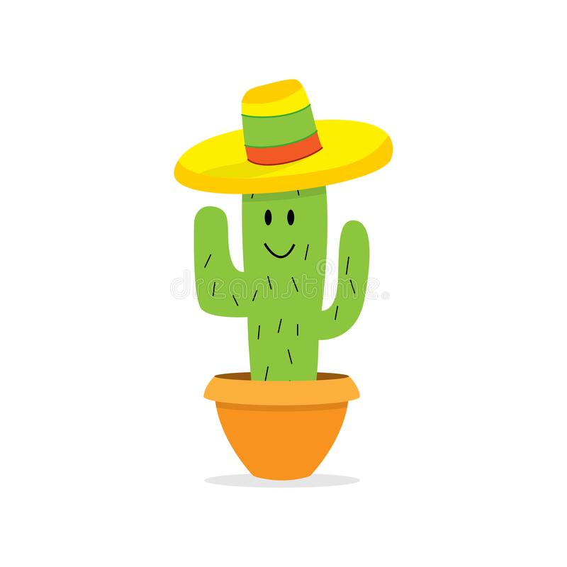 Cactus cartoon character in pot. Isolated Cactus with happy face and colorful mexican hat. Eps10 vector illustration