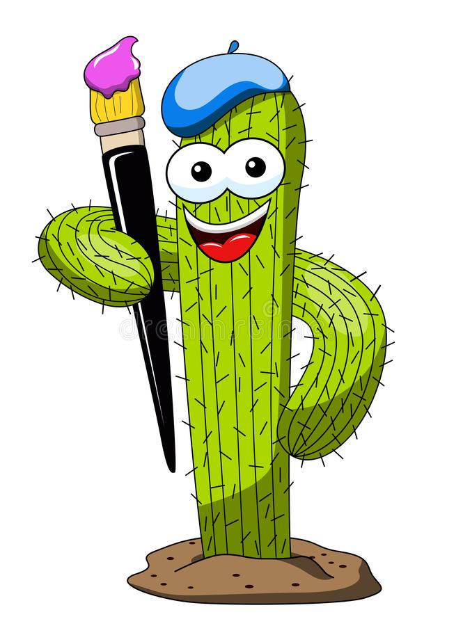 Cactus cartoon funny character vector painting brush isolated royalty free illustration