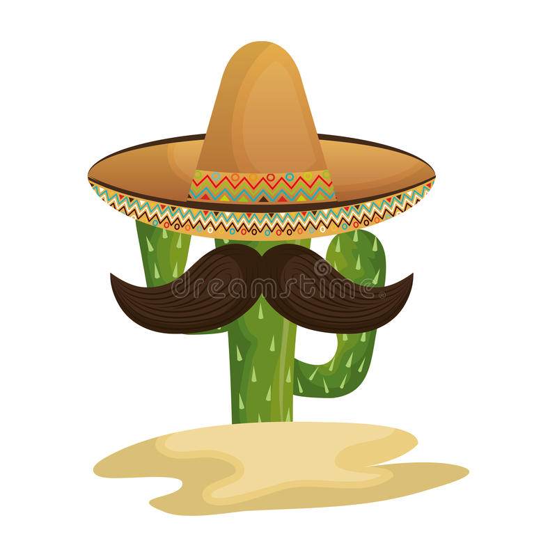Cactus character with mexican hat. Vector illustration design stock illustration