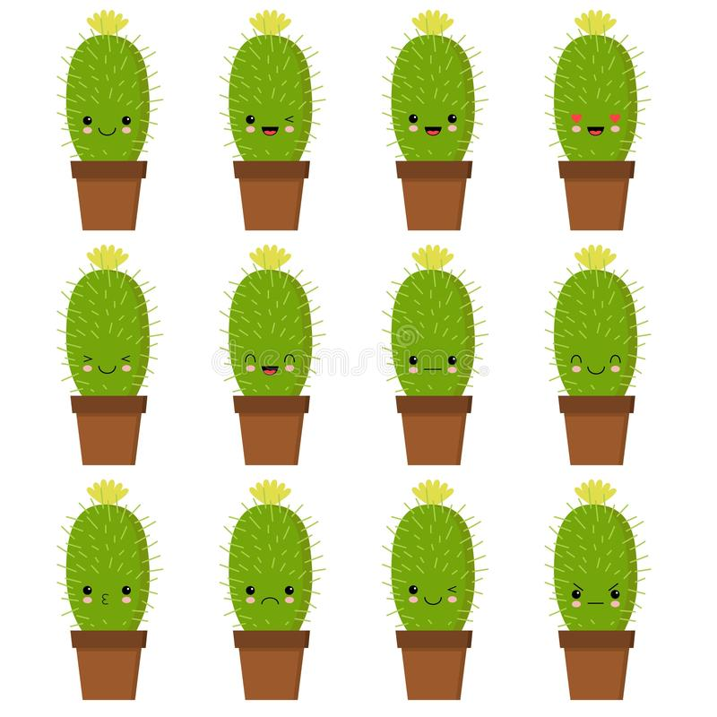 Cactus characters sett, funny cacti with different emotions vector Illustrations on a white background royalty free illustration