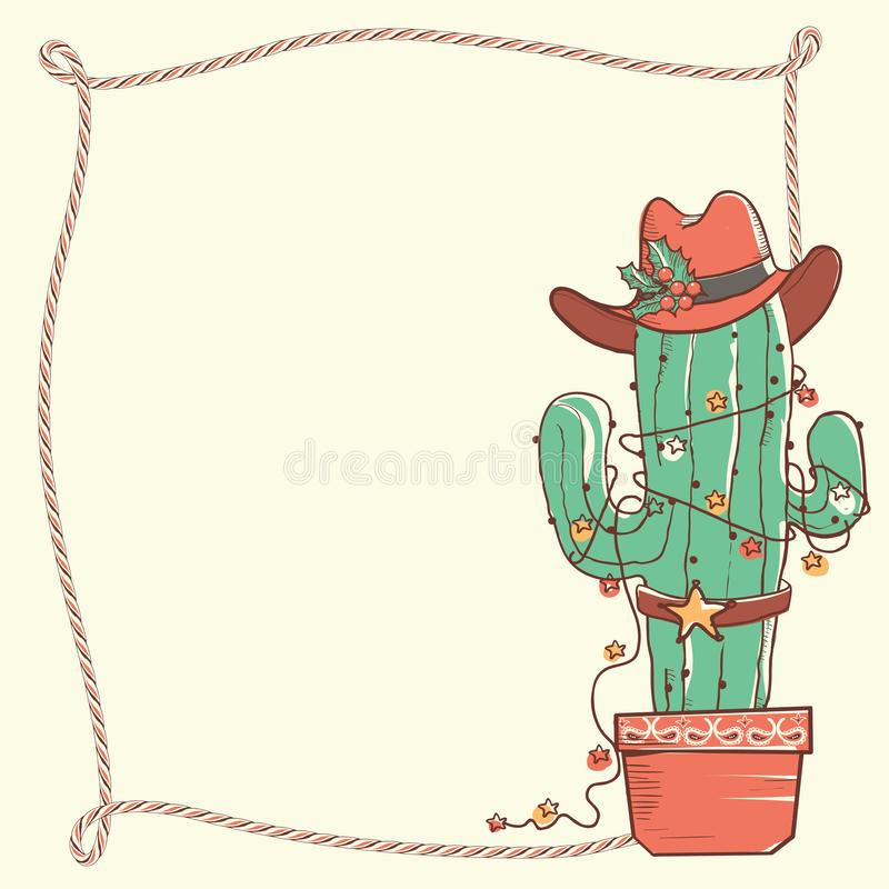Cactus christmas with cowboy hat and lasso frame .Vector hand dr royalty free illustration