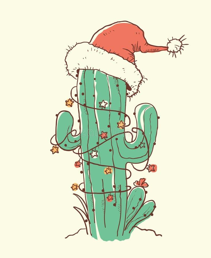 Free Cactus Christmas Red Santa Hat .Vector Color Hand Drawn Illustration Royalty Free Stock Photos - 129672008
