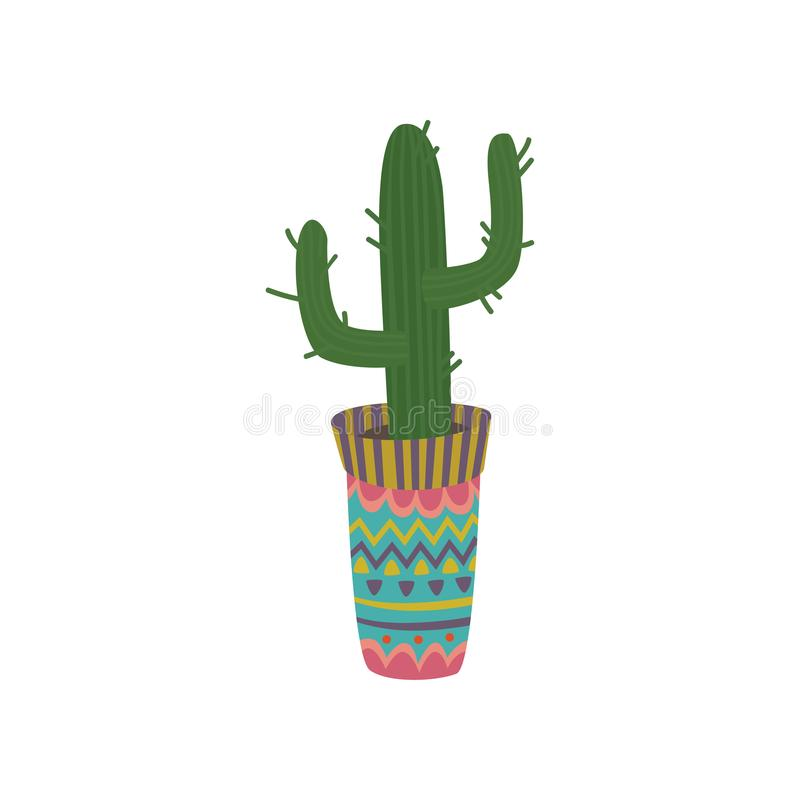 Cactus in a colorful pot with Mexican ornament cartoon vector Illustration. On a white background vector illustration