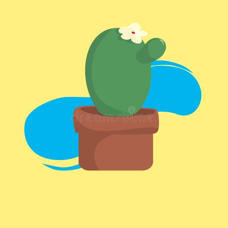 Cactus con il vaso con fondo giallo fresco illustrazione vettoriale