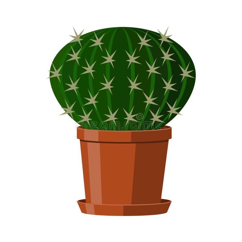 Cactus con las espinas dorsales en un pote Houseplant floreciente Ilustración del vector aislada en el fondo blanco libre illustration