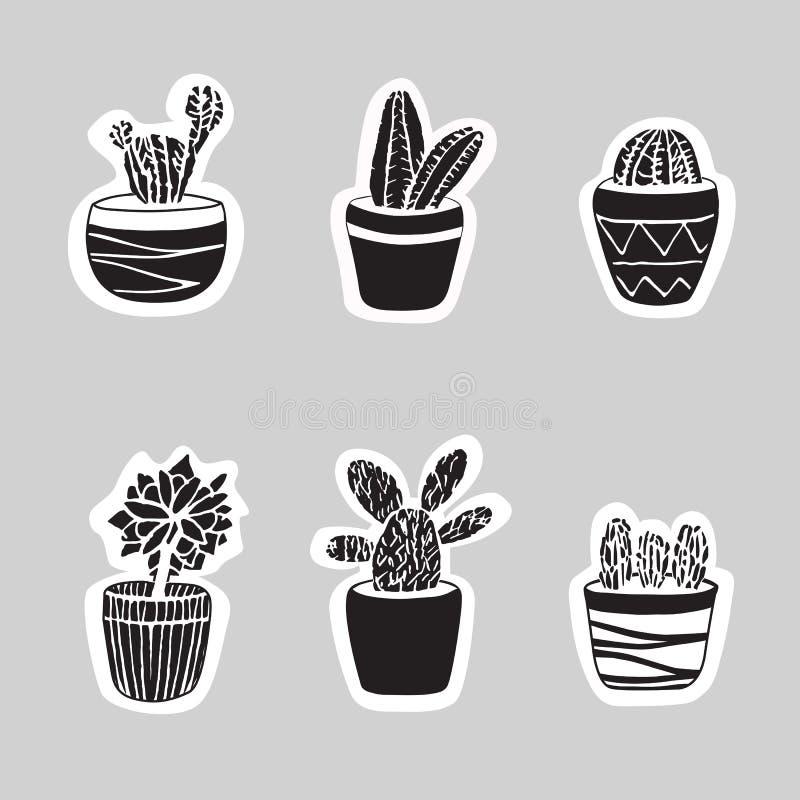 Cactus d'autocollant réglés Illustration mignonne pour la carte et la couverture illustration de vecteur