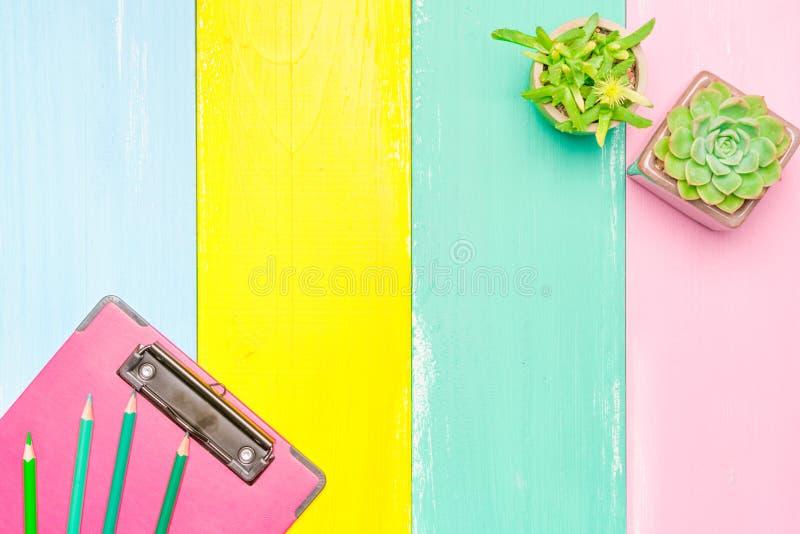 Cactus dans la vue supérieure de pot et de presse-papiers rose sur les milieux en bois colorés avec l'espace de copie photographie stock