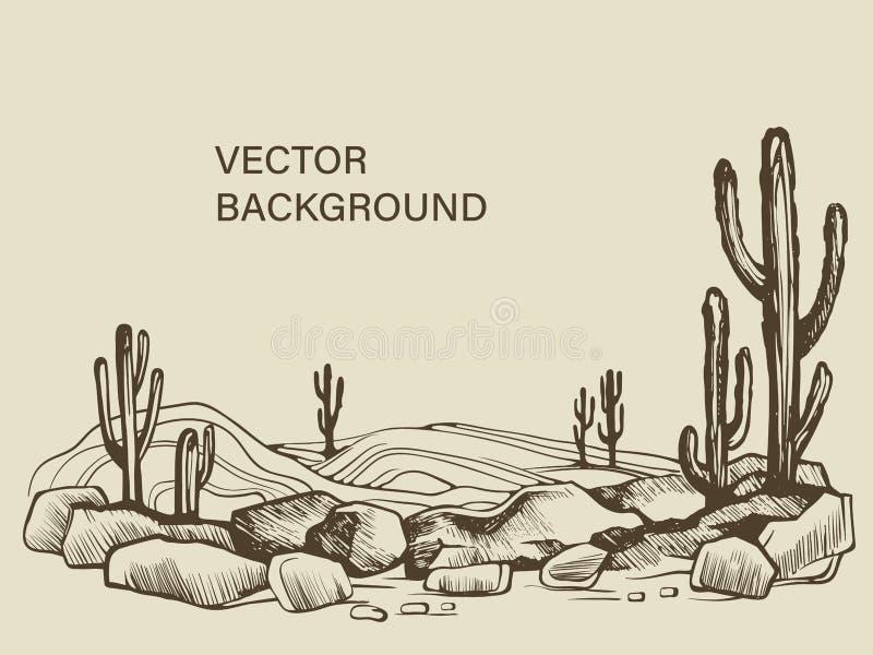 Cactus dans le croquis de désert de l'Arizona illustration de vecteur