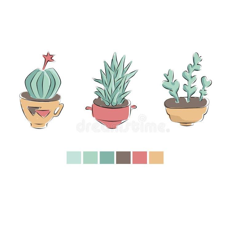 Cactus dans le style mexicain illustration stock