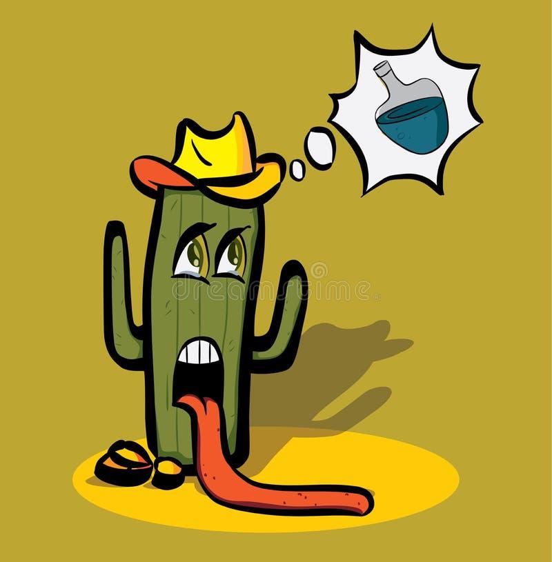 Cactus de bande dessinée faible de la soif dans le désert et illustration stock