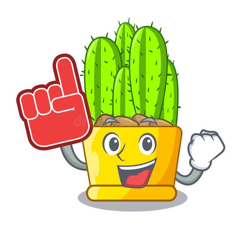 Cactus de cierge de doigt de mousse avec la bande dessinée de bourgeon floraux illustration stock