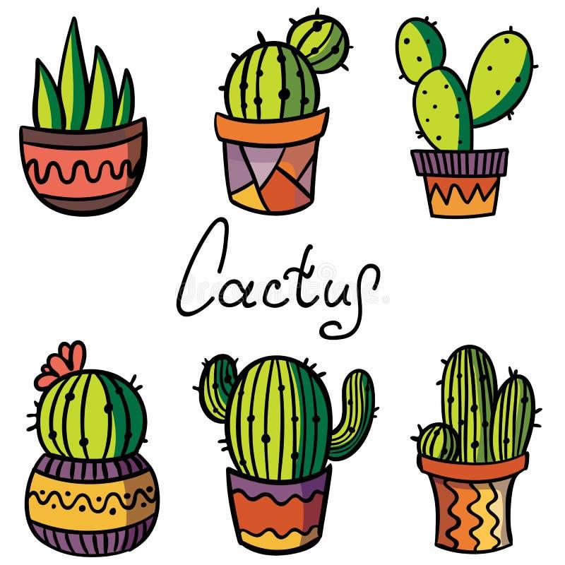 Cactus de découpe et plante succulente dans le pot de fleur sur le fond noir photos stock