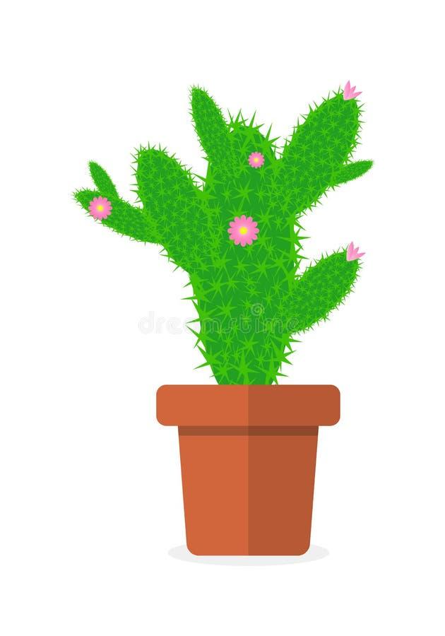 Cactus de dessin de vecteur dans un pot de fleur illustration de vecteur