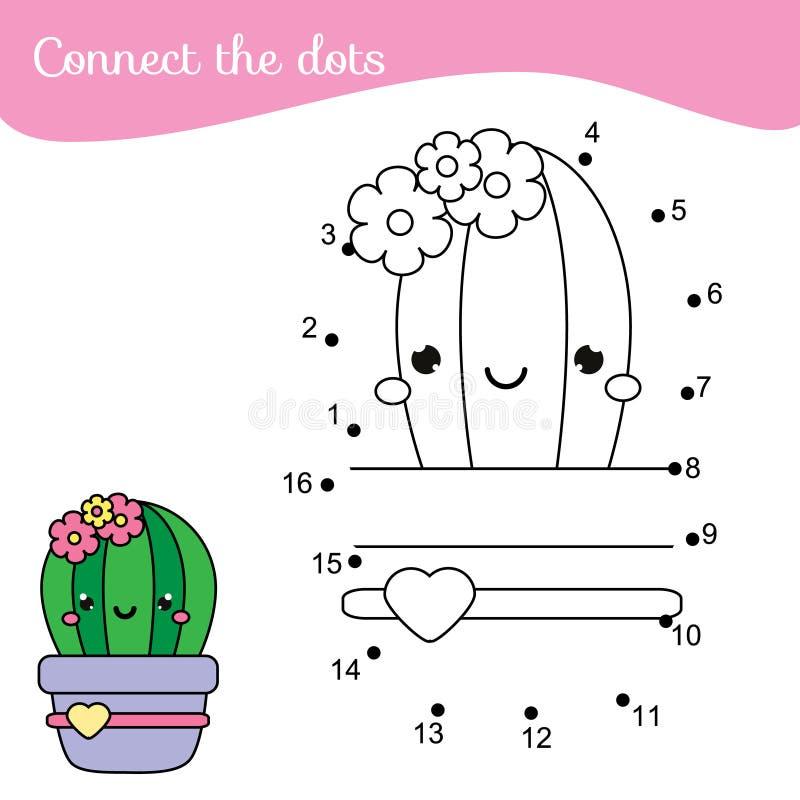 Cactus de la historieta Conecte los puntos Punto a puntear por la actividad de los n?meros para los ni?os y los ni?os Juego educa stock de ilustración