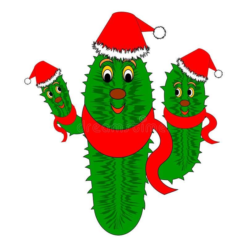 Cactus de la Navidad divertido stock de ilustración