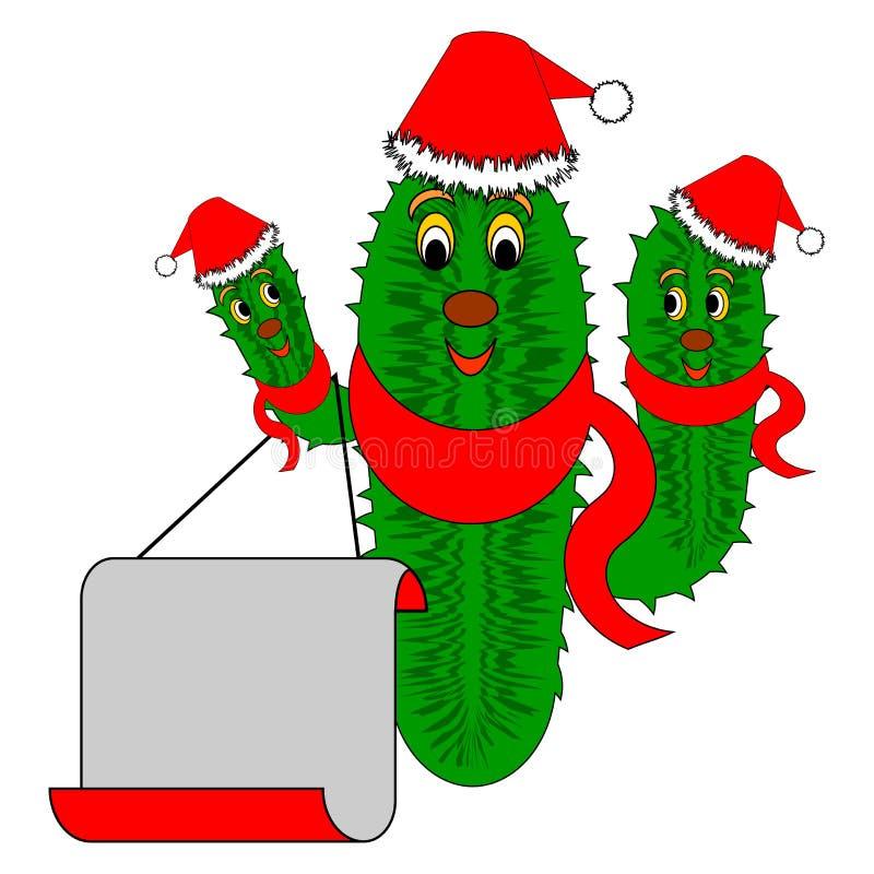 Cactus de la Navidad divertido con un papel en blanco grande ilustración del vector