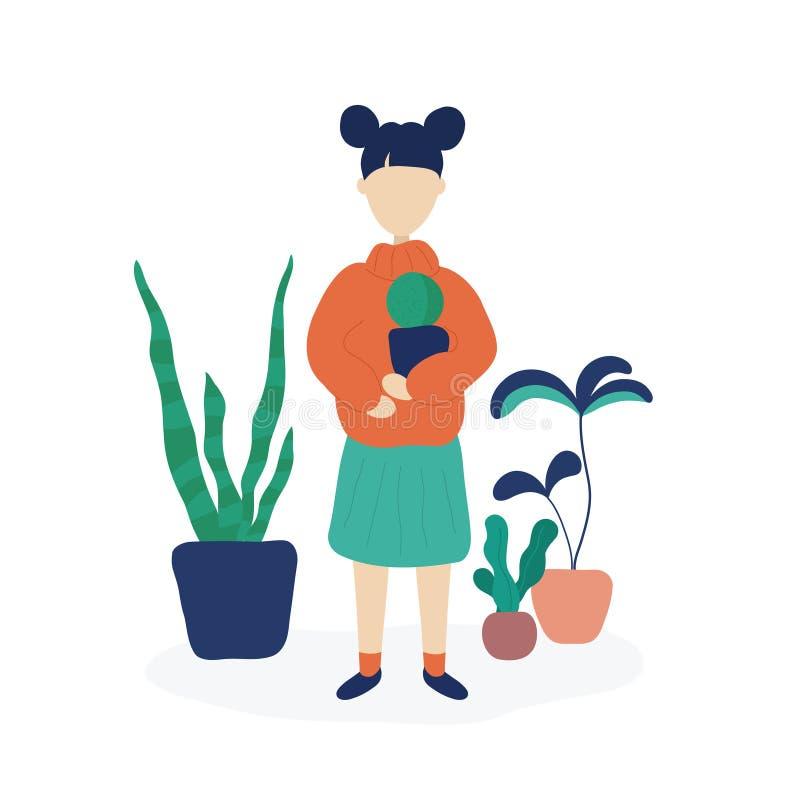 Cactus de la tenencia de la muchacha rodeado por las plantas caseras ilustración del vector