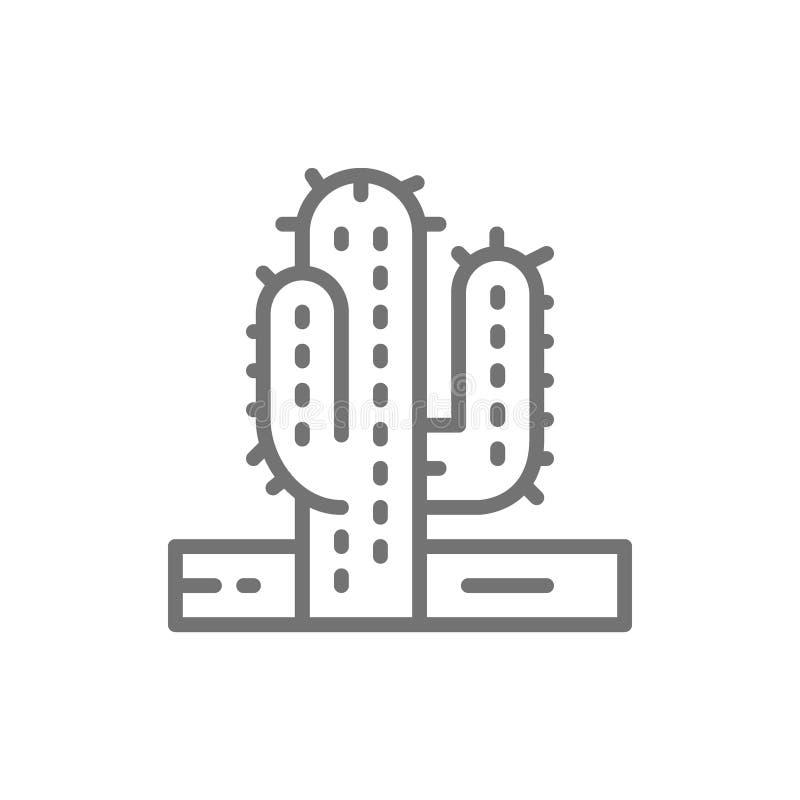 Cactus, de lijnpictogram van de woestijnboom vector illustratie