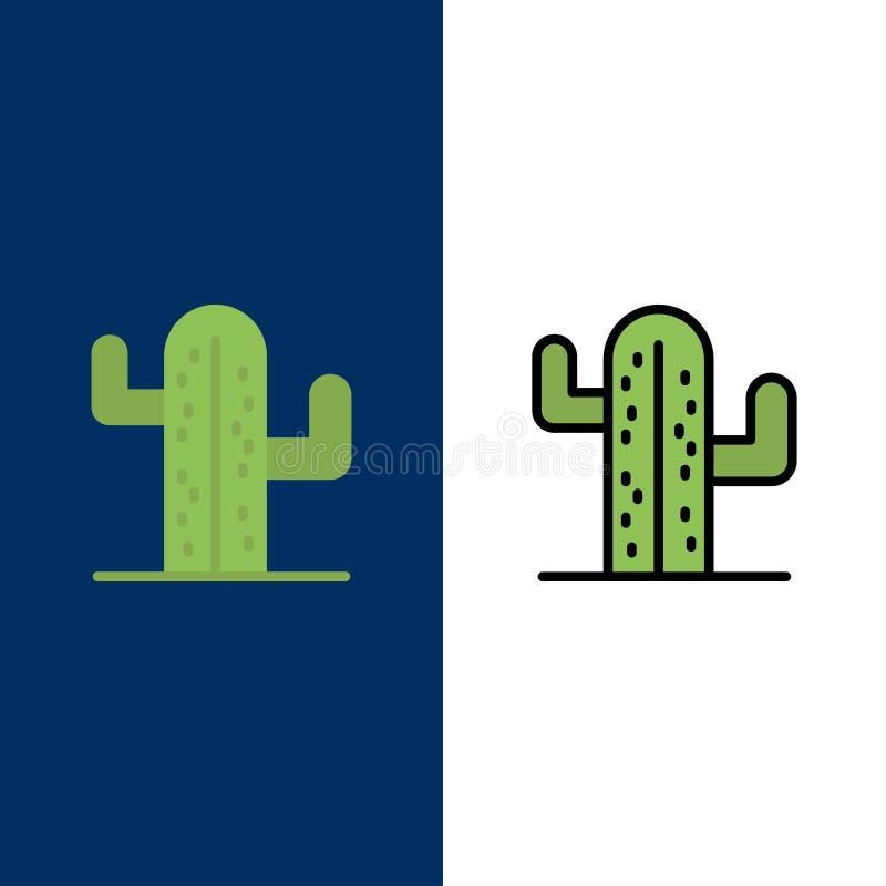Cactus, de V.S., Installatie, Amerikaanse Pictogrammen Vlak en Lijn vulde Pictogram Vastgestelde Vector Blauwe Achtergrond royalty-vrije illustratie