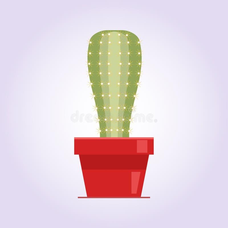 Cactus decorativo con los picores en el fondo blanco Planta casera en crisol Icono plano del estilo stock de ilustración
