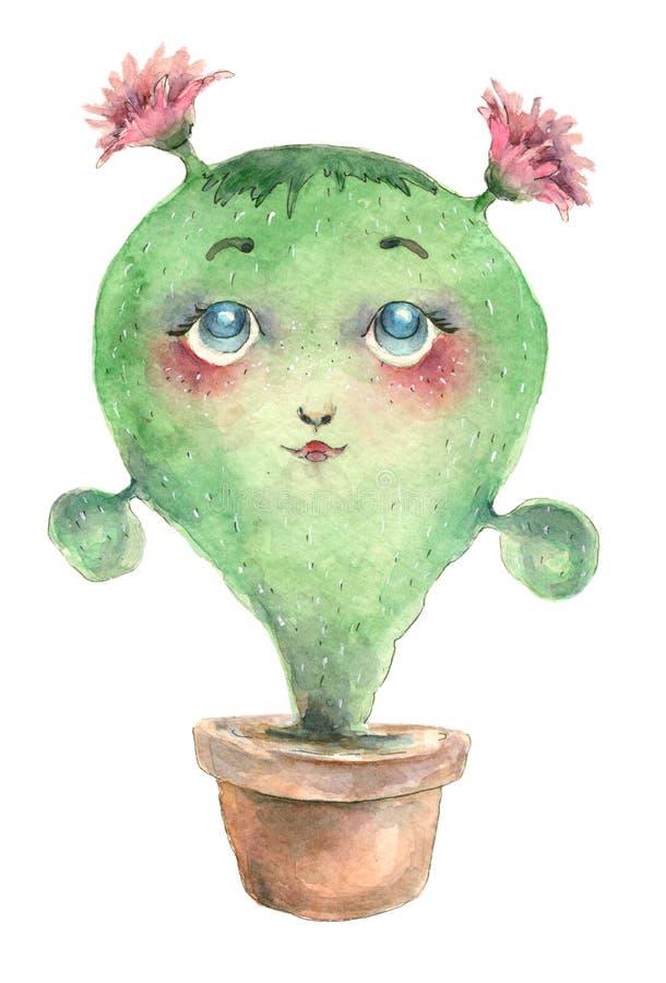 Cactus del carácter en pote stock de ilustración