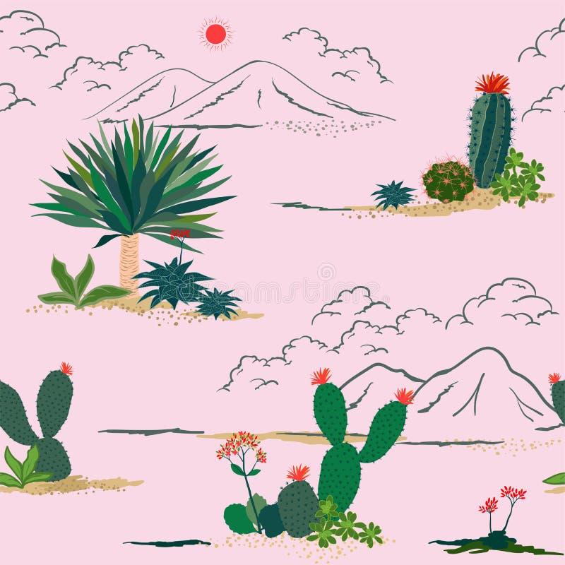 Cactus del disegno della mano e modello senza cuciture della crassulacee Pianta botanica tropicale esotica variopinta su fondo ro royalty illustrazione gratis