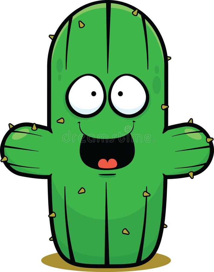 Cactus del fumetto felice illustrazione vettoriale
