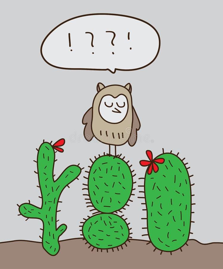 Cactus del soporte del búho stock de ilustración
