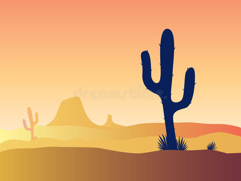 Cactus desert sunset stock illustration