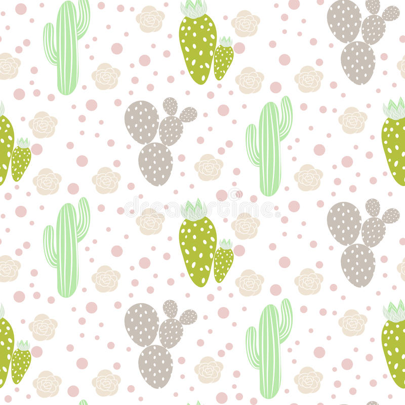 Download Cactus Desert Vector Seamless Pattern Green And Grey Nature Fabric Print Texture Stock