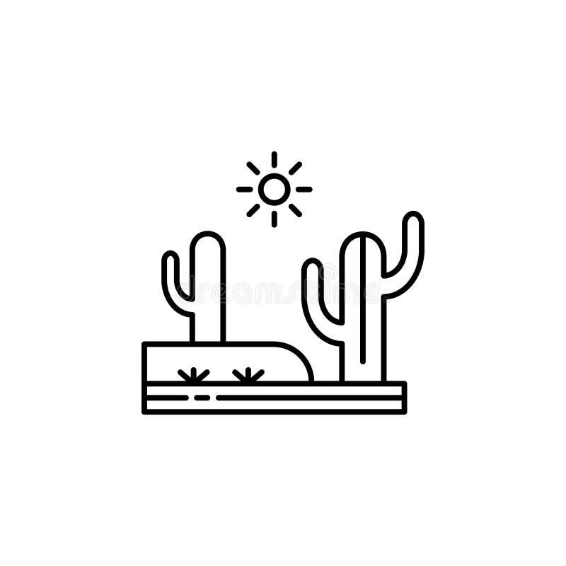 Cactus, desierto, icono caliente, soleado del esquema Elemento del ejemplo de los paisajes Las muestras y los símbolos resumen el ilustración del vector