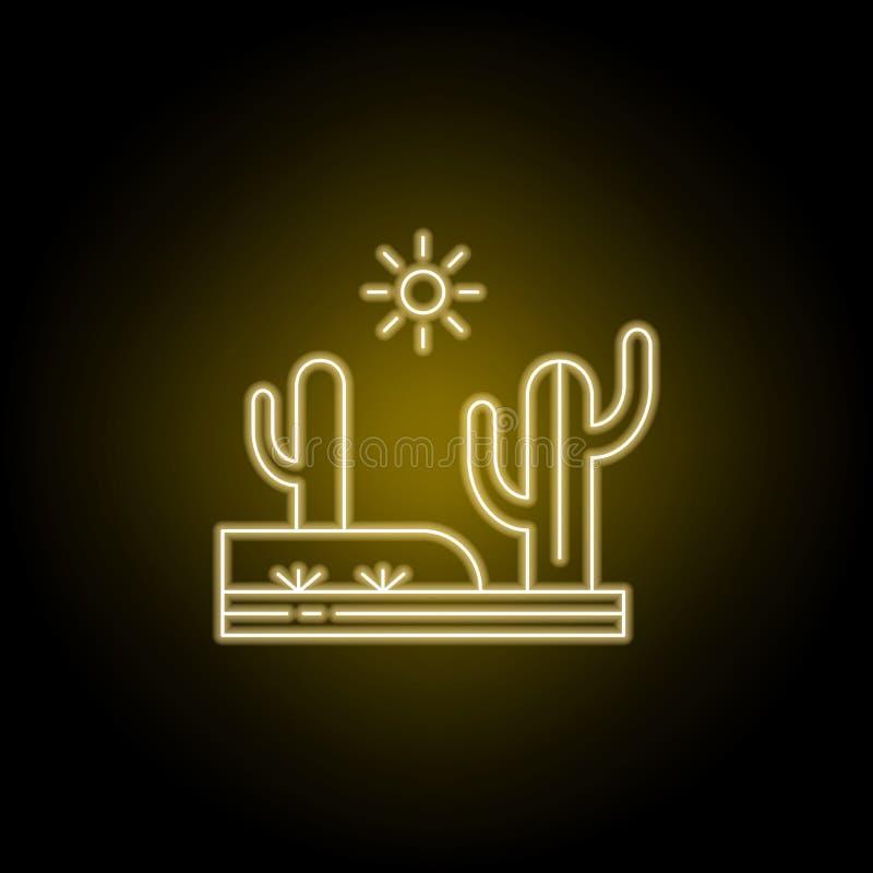 Cactus, desierto, línea caliente, soleada icono en estilo de neón amarillo Elemento del ejemplo de los paisajes Las muestras y lo ilustración del vector