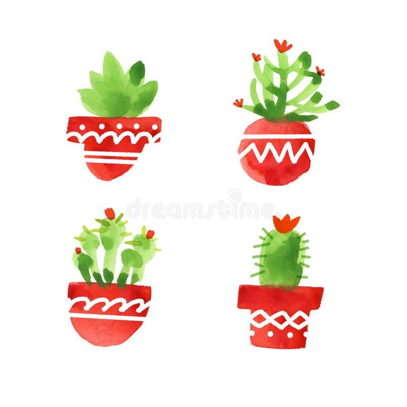 Cactus dibujados mano de la acuarela en los potes fijados ilustración del vector