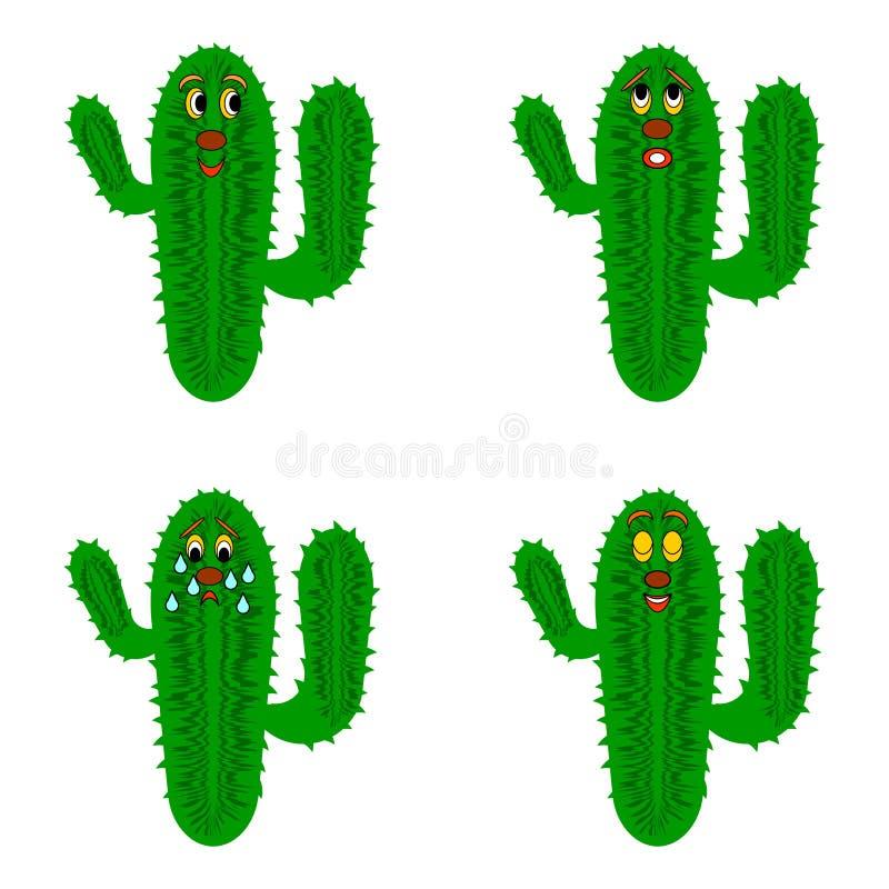 Cactus divertidos de la historieta ilustración del vector
