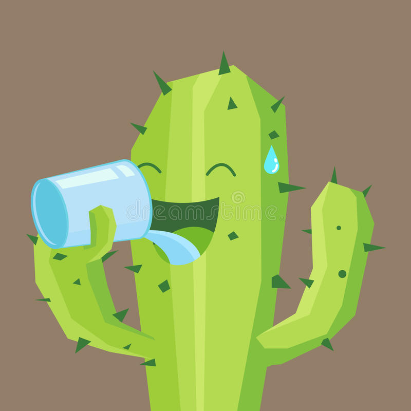 Cactus drink a glass of water vector illustration