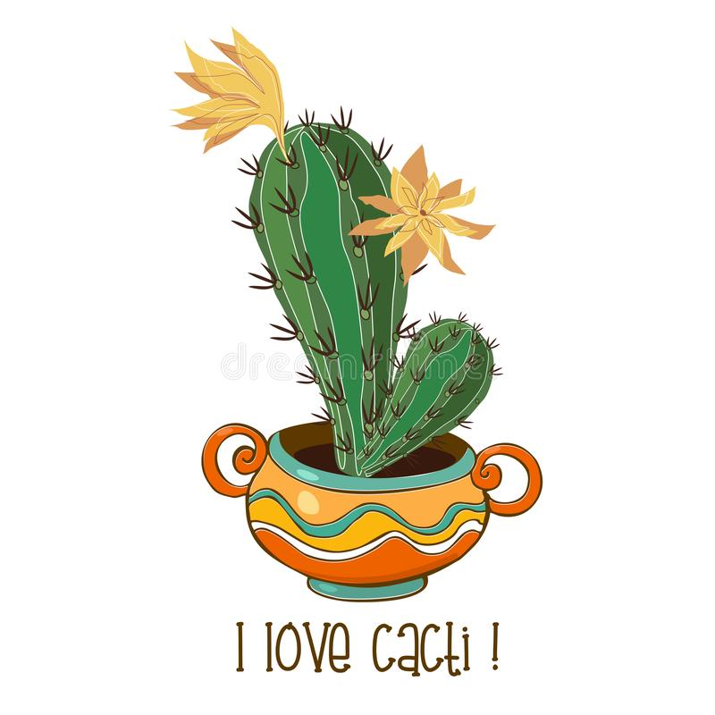 Cactus in een aardige kleipot inschrijving Ik houd van cactussen Vector stock illustratie