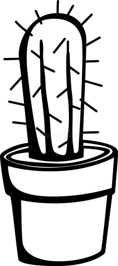 Cactus in een pot royalty-vrije illustratie