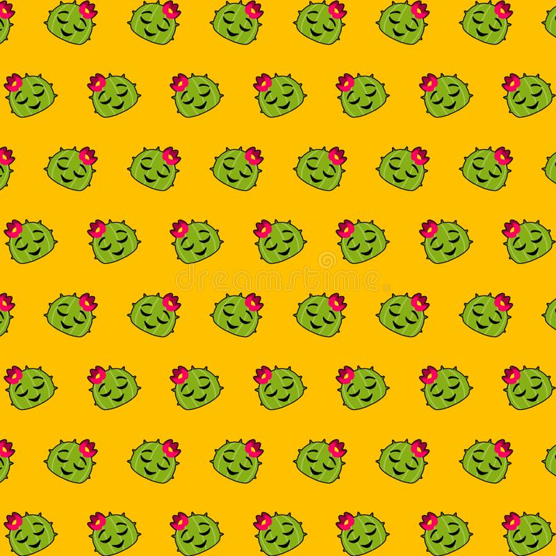 Cactus - emojipatroon 37 stock illustratie
