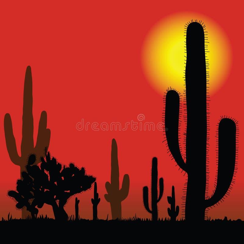 Cactus en el ejemplo del vector del desierto libre illustration