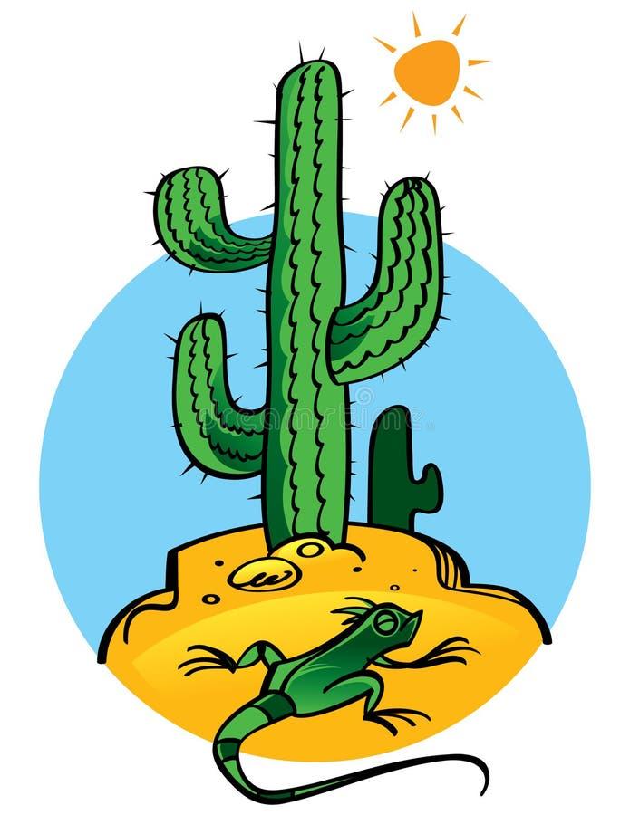 Cactus en Hagedis royalty-vrije illustratie