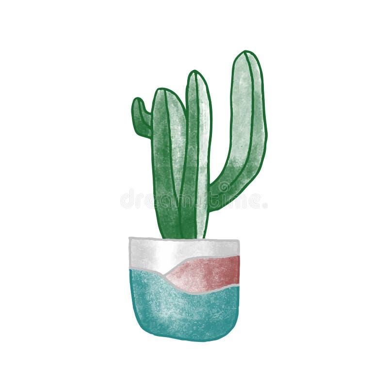 Cactus en la ilustración vectorial dibujada a mano en la cacerola Planta doméstica, elemento interior de habitación, atributo coz ilustración del vector