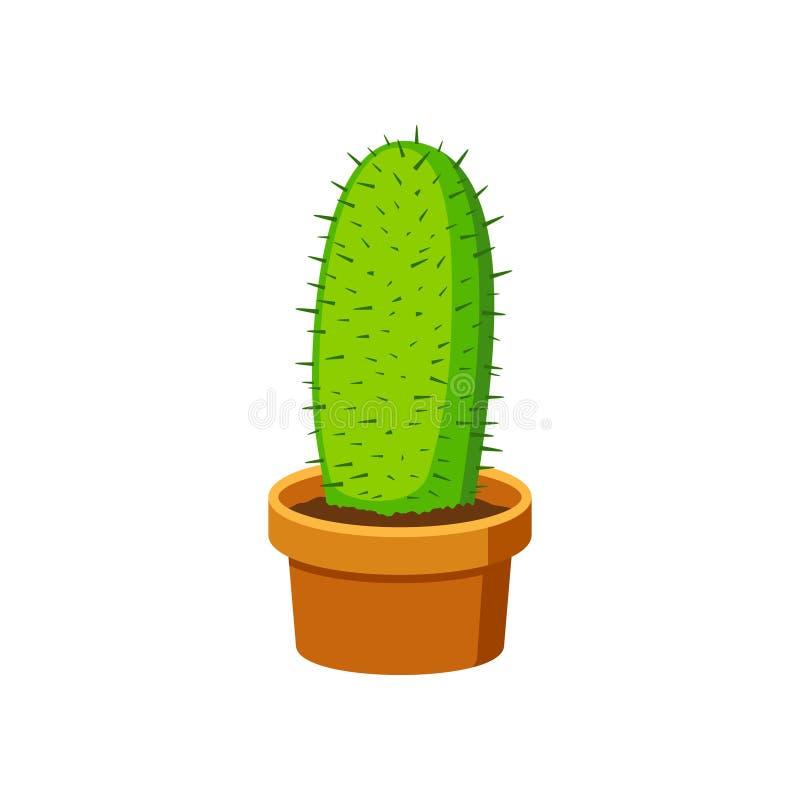 Cactus en la maceta en estilo plano aislada en el fondo blanco Diríjase la planta libre illustration