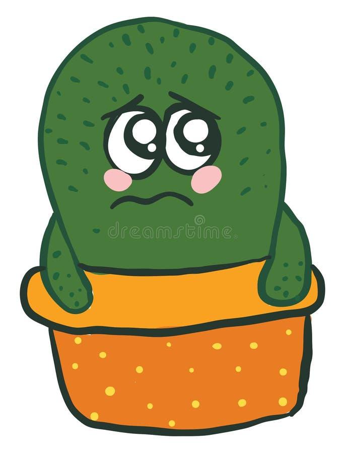 Cactus en olla naranja se ve triste, ilustración, vector stock de ilustración