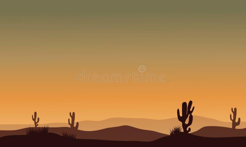 Cactus en silhouette de désert illustration libre de droits