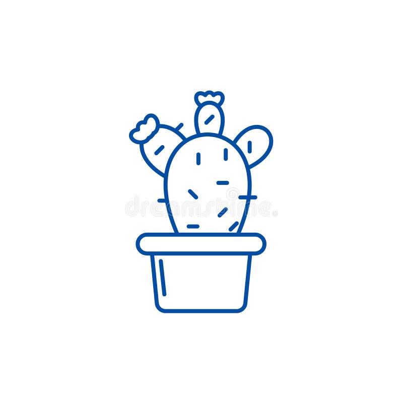 Cactus en una línea concepto del pote del icono Cactus en un símbolo plano del vector del pote, muestra, ejemplo del esquema ilustración del vector