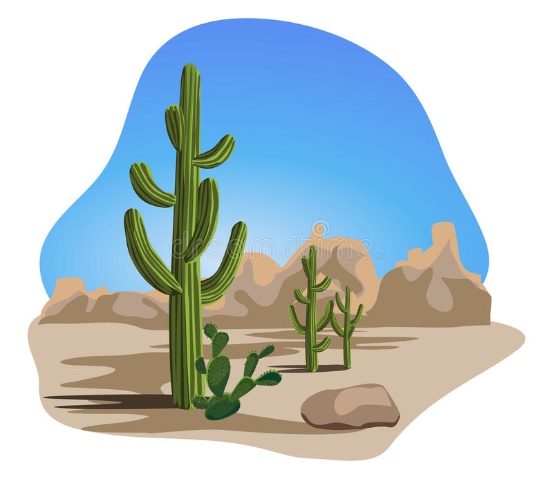Cactus en Woestijn royalty-vrije illustratie